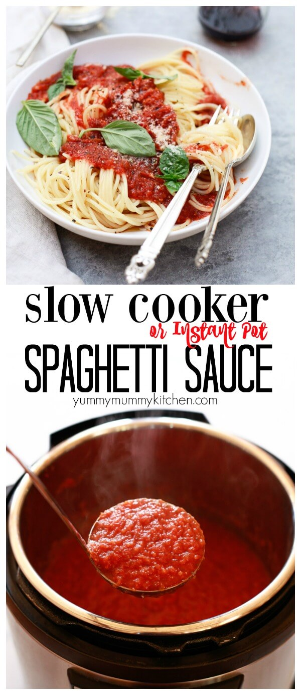 Crockpot spaghetti sauce made from scratch! This delicious slow cooker or instant pot marinara is so delicious and easy! It's loaded with veggies and not added sugar or oil.