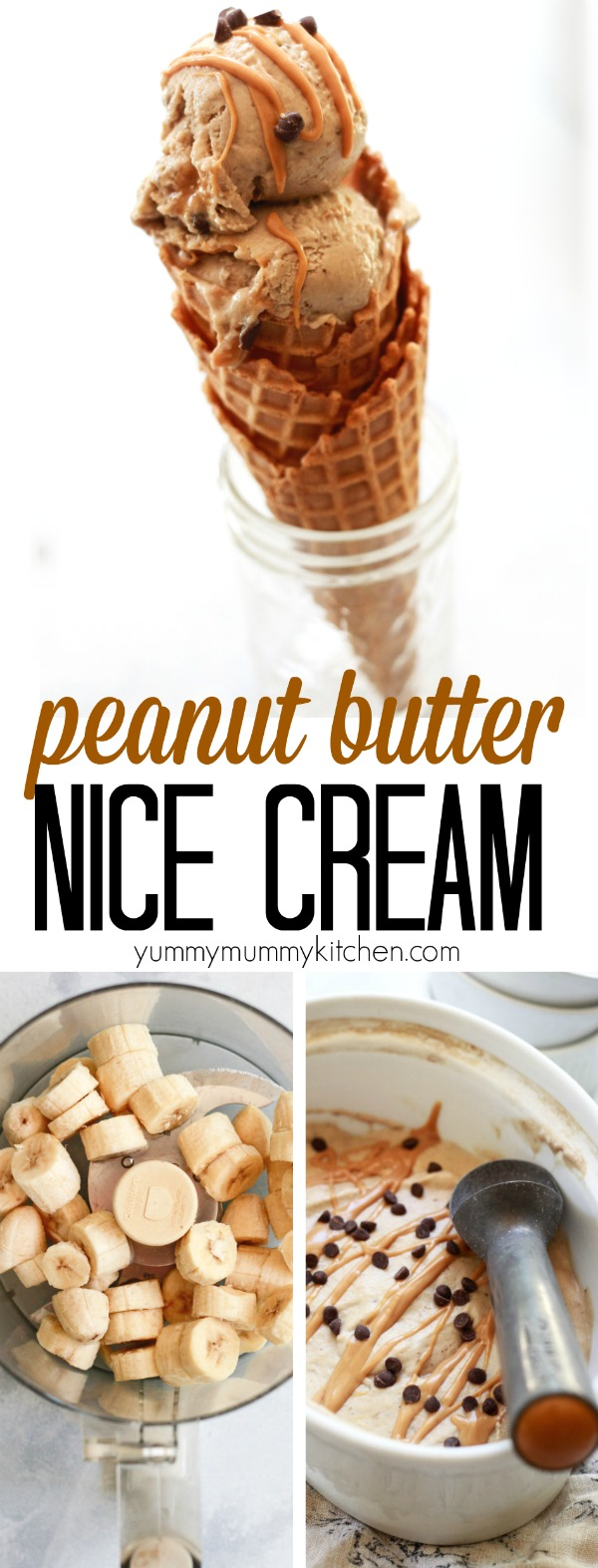 Banana nice cream flavored with peanut butter and chocolate chips is an easy, healthier, dairy-free vegan ice cream dessert recipe made with real food ingredients. Banana nice cream is a great recipe for kids to help make.
