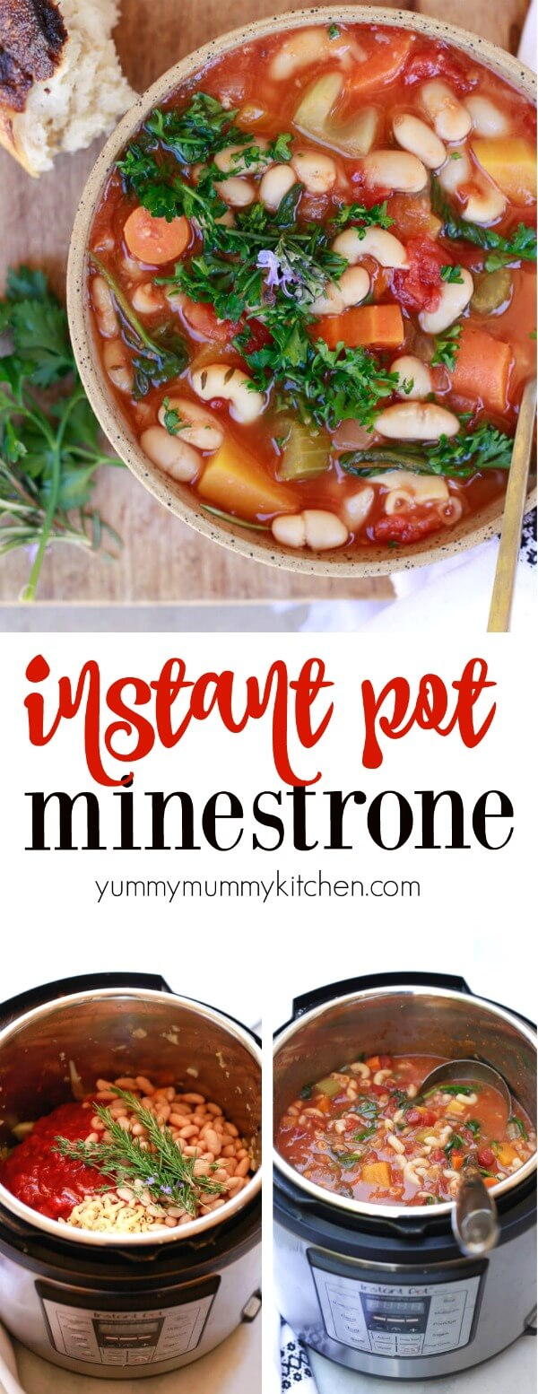 This Hearty Instant Pot Minestrone Soup recipe is a delicious Italian vegetable soup with butternut squash, pasta, and beans. Instant Pot Minestrone is the perfect easy vegetarian or vegan pressure cooker dinner.