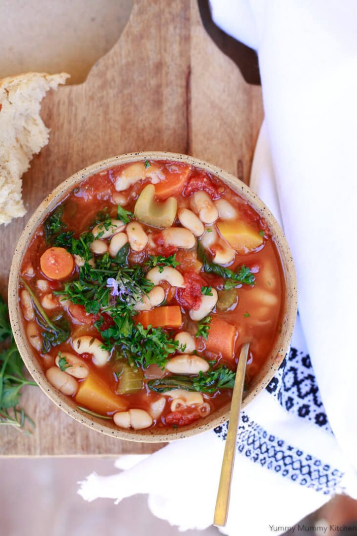 A beautiful bowl of easy healthy Instant Pot Minestrone soup. This recipe is so tasty, hearty, and warming. Instant Pot minestrone soup is an Italian family favorite vegetarian and vegan recipe.