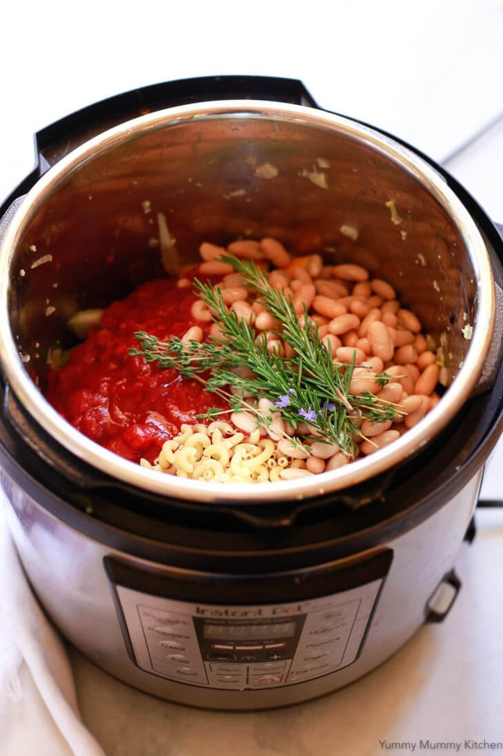 Instant Pot Minestrone Soup ready to get pressure cooked. This easy minestrone recipe is so hearty and delicious, and makes a great vegetarian or vegan Instant Pot dinner.