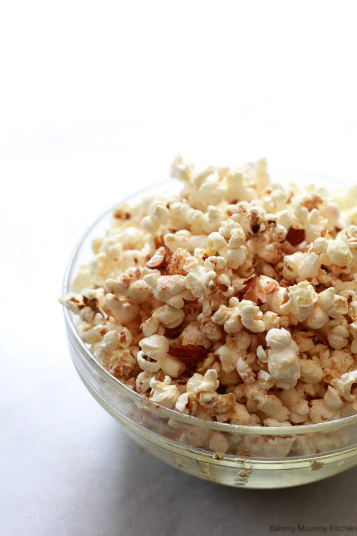 Sweet and salty maple nut stovetop popcorn recipe is a delicious homemade snack or treat that's vegan and gluten-free.