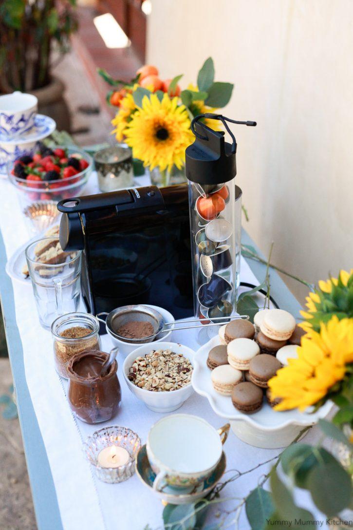 A beautiful DIY coffee and dessert bar.