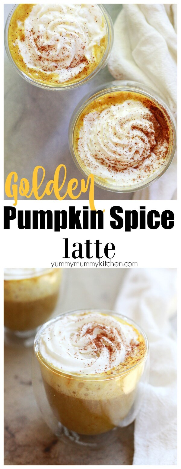 Find out how to make a better pumpkin spice latte at home with this easy recipe. Infused with turmeric golden milk, this healthy pumpkin spice latte (PSL) is dairy-free and vegan.