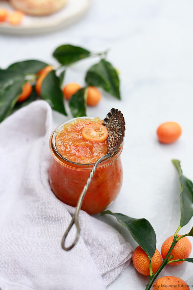 An easy fresh kumquat marmalade recipe that's refined sugar free, sweetened with honey or agave, and spiced with cinnamon. This beautiful marmalade is delicious with breakfast or as a homemade holiday gift.