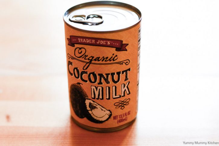 A can of Trader Joe's Organic coconut milk to be used in creamy vegan lentil soup.