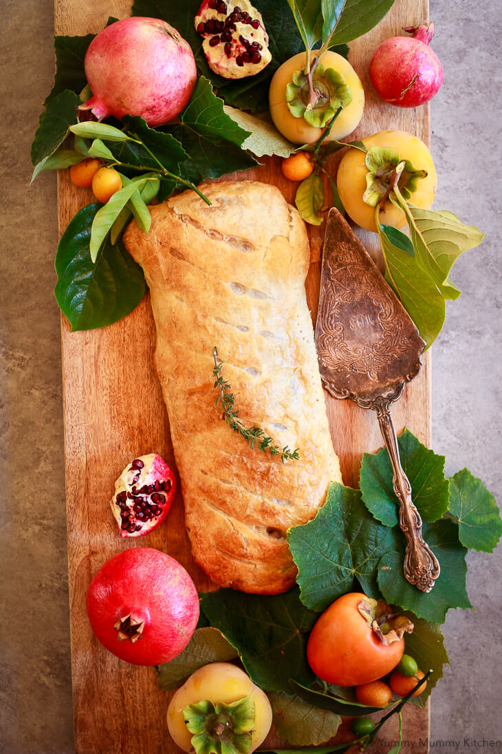 This vegetarian Wellington recipe is filled with portobello mushrooms, spinach, and butternut squash. Vegan portobello mushroom Wellington is a beautiful vegetarian and vegan holiday dinner recipe for Thanksgiving or Christmas.