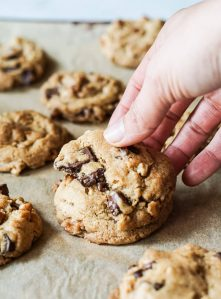 Perfect soft and chewy classic vegan chocolate chip cookies recipe.