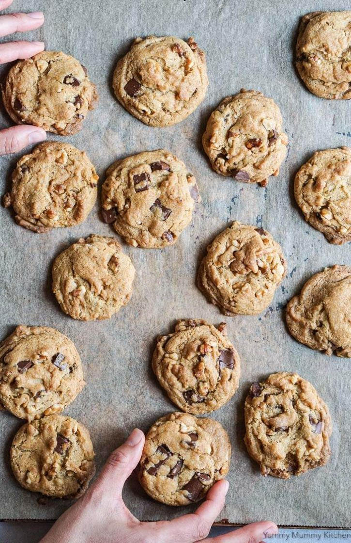 A cookie sheet filled with freshly baked perfect vegan chocolate chip and walnut cookies.