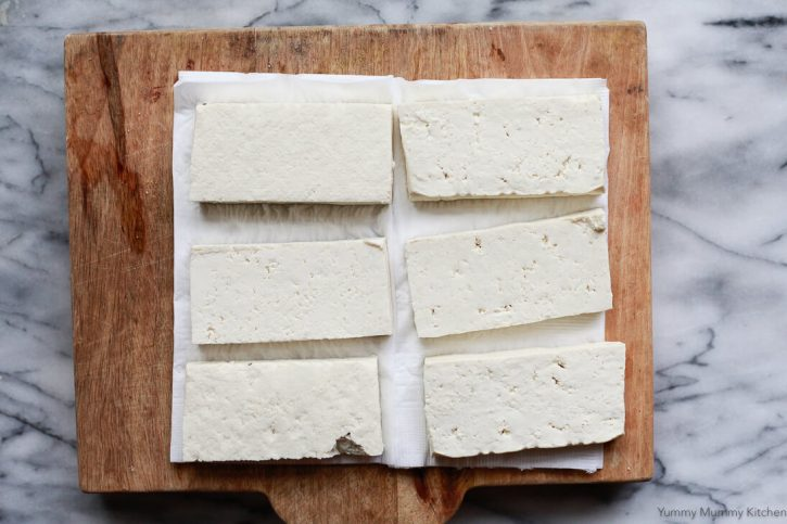 Tofu is sliced and patted dry to make sofritas.