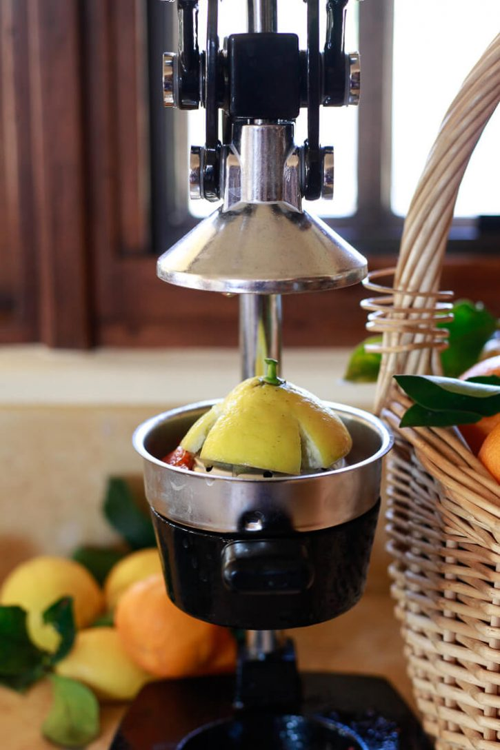Half a lemon in a commercial grade manual citrus juicer on a kitchen counter.
