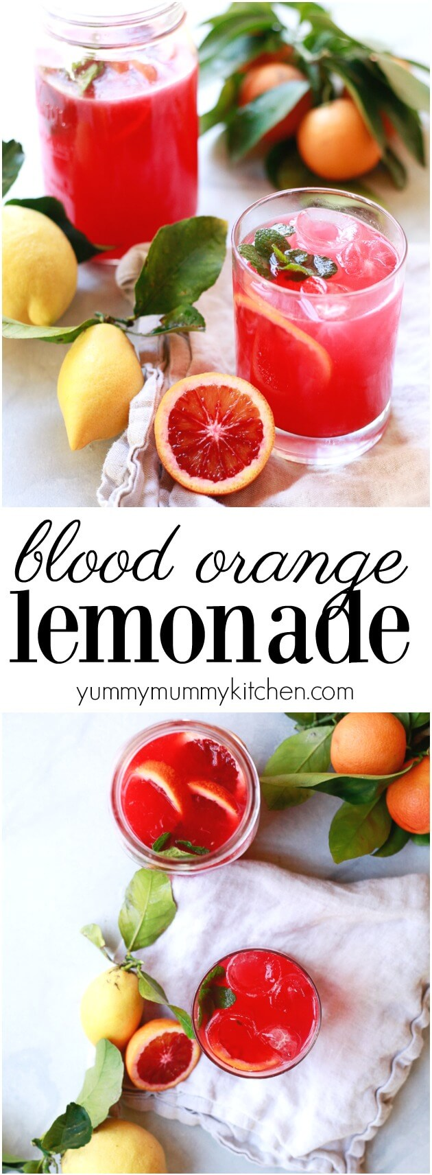 This easy and healthy blood orange lemonade recipe is so beautiful and delicious. It's naturally sweetened with stevia or honey and the perfect healthy non-alcoholic beverage. This blood orange lemonade recipe is just like from Panera - but even better.