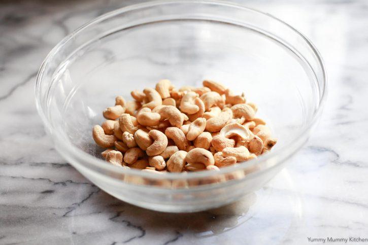 Raw cashews in a bowl to make homemade vegan cream cheese.