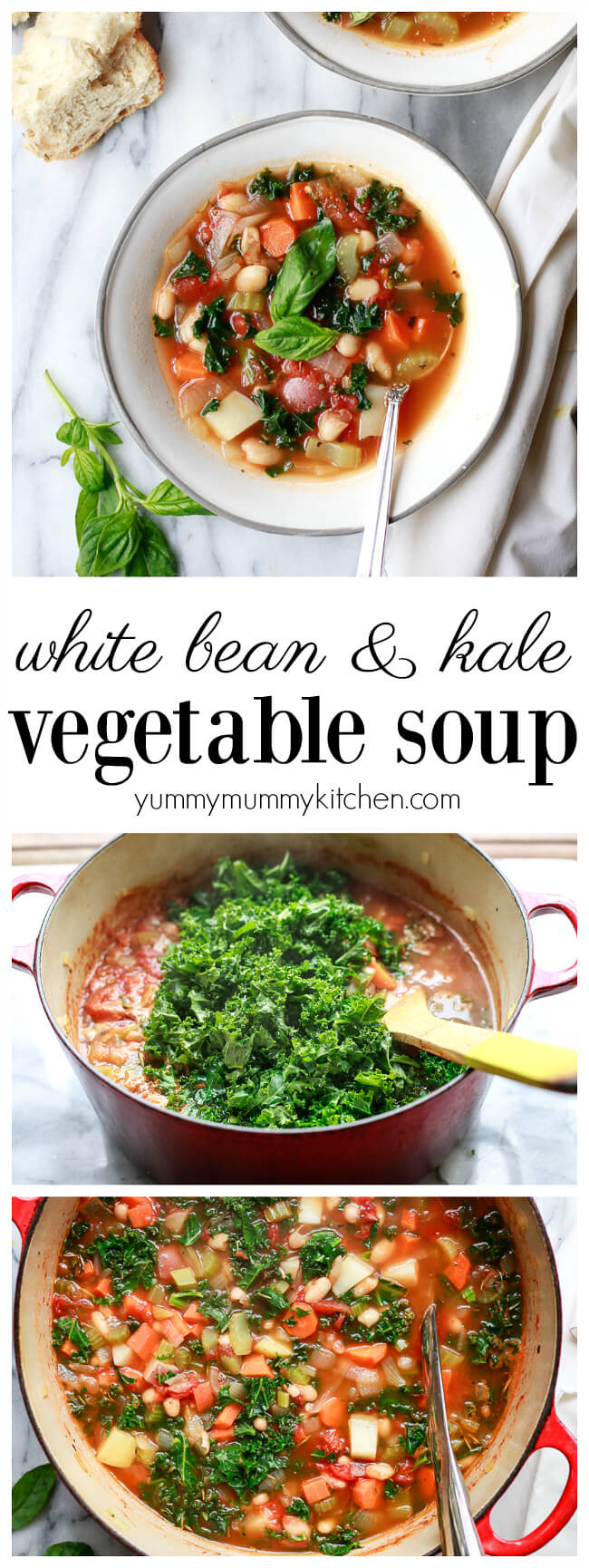 A hearty and healthy winter white bean and kale vegetable soup. White bean and kale soup is a lunch or dinner that's plant-based, vegetarian and vegan.