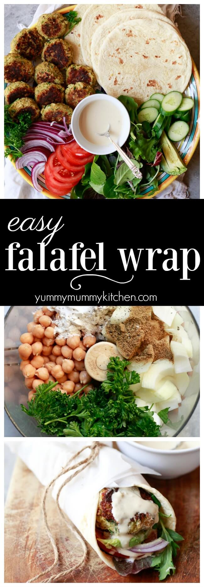 Easy falafel wrap recipe with tahini sauce, veggies, flatbread, and easy falafel made with canned chickpeas. Falafel wraps are a delicious vegetarian and vegan lunch or dinner idea.