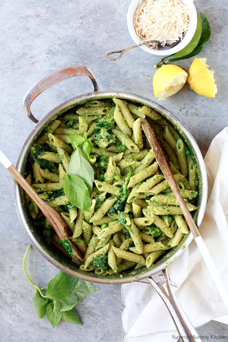 Creamy pea pesto penne pasta is a light plant-based dinner filled with the bright fresh flavors of basil, lemon, garlic, and peas.