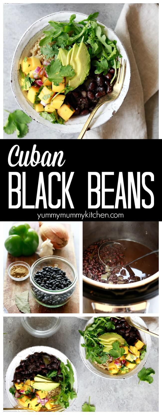 How to make Cuban black beans in the Instant Pot pressure cooker or on the stovetop. This easy recipe for Cuban black beans is so delicious and perfect in rice grain bowls with mango salsa or in tacos, burritos, and enchiladas. These Cuban black beans are vegan and gluten-free.