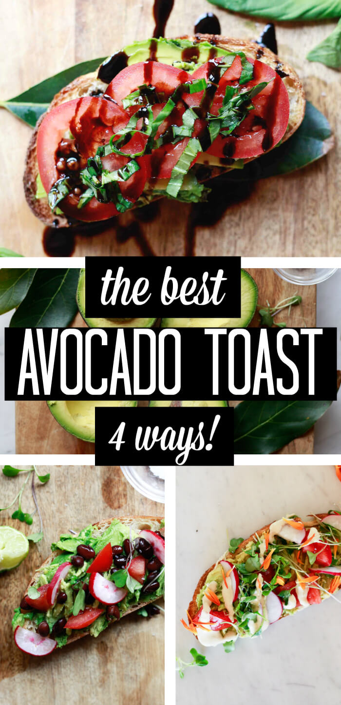 The best avocado toast - 4 ways. Four avocado toast slices from plain to topped with tomatoes, basil, balsamic to Mexican avocado toast topped with black beans and lime, to tahini drizzled avocado toast. Find out how to make avocado toast with this simple recipe.