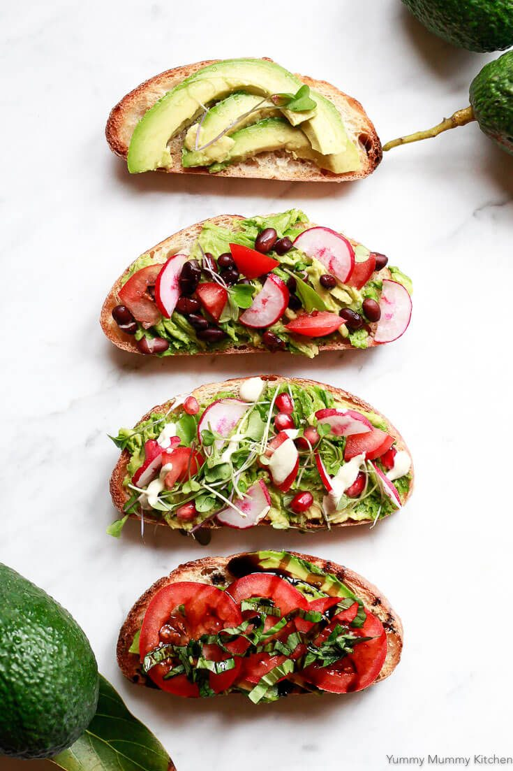 How to make the best avocado toast ever! From simple to loaded up with healthy toppings, try all 4 of these delicious avocado toast recipes.