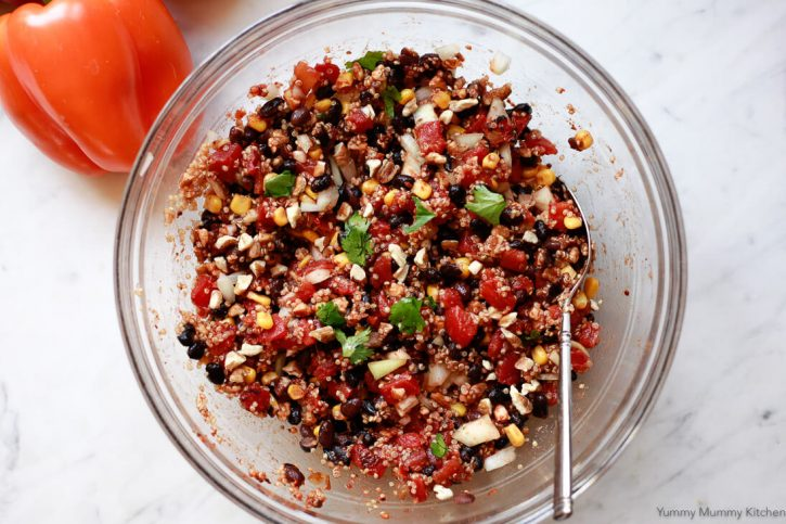 The filling for vegetarian quinoa stuffed bell peppers in a bowl.