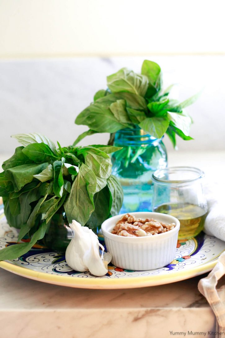 Jars of fresh basil, garlic, walnuts, and olive oil on an Italian pottery dish on a kitchen counter.