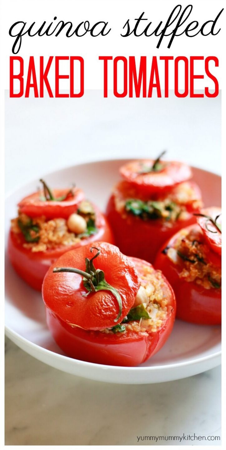 Healthy vegetarian stuffed baked tomatoes with spinach and chickpeas is a delicious vegetarian, vegan, gluten-free dinner idea.
