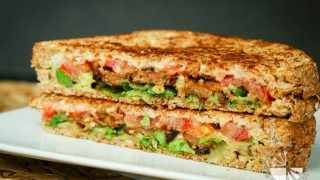 Crispy Tempeh Arugula Sandwich with Roasted Garlic Truffle Aioli