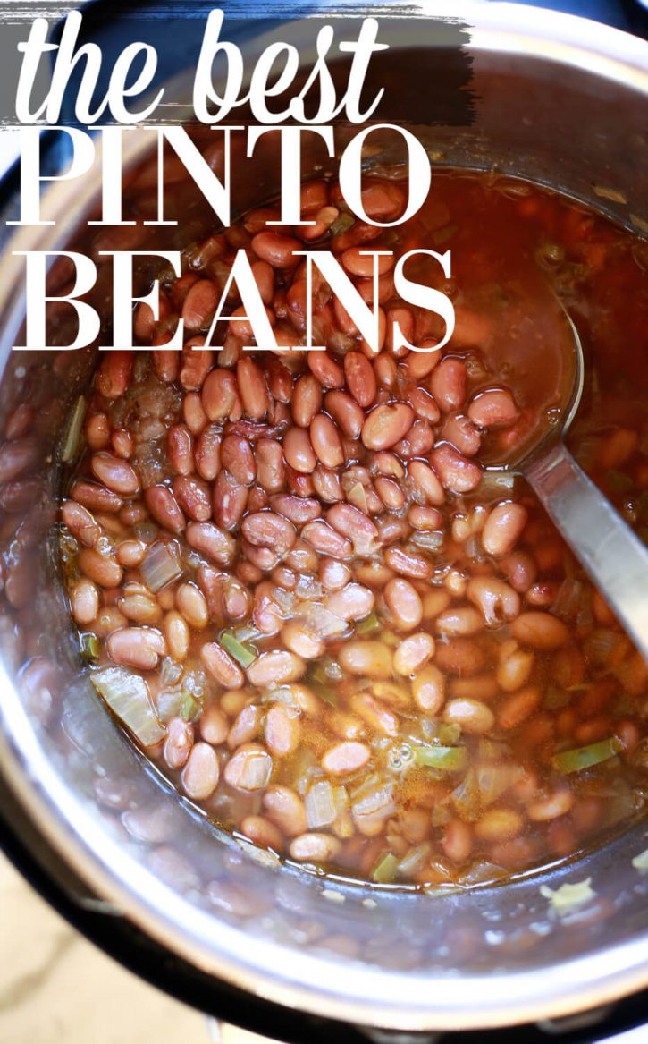 The best Mexican style pinto beans recipe. Find out how to cook pinto beans in the crockpot slow cooker, Instant Pot pressure cooker, or stovetop.