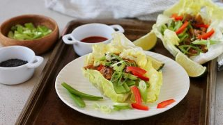 Vegetarian Lettuce Wraps with Spicy Sesame Tempeh