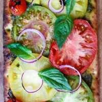 Vegan Pizza with Pesto and Heirloom Tomatoes