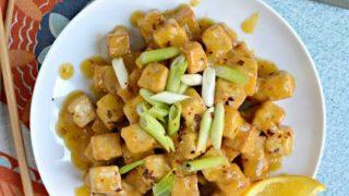 Crispy Air Fryer Tofu with Sticky Orange Sauce