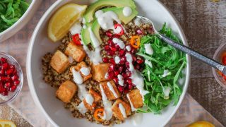 Crispy Tofu Bowls {& Garlicky Lemon Yogurt Sauce}
