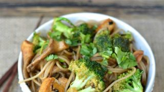 Broccoli Tofu Stir Fry with Buckwheat Vermicelli