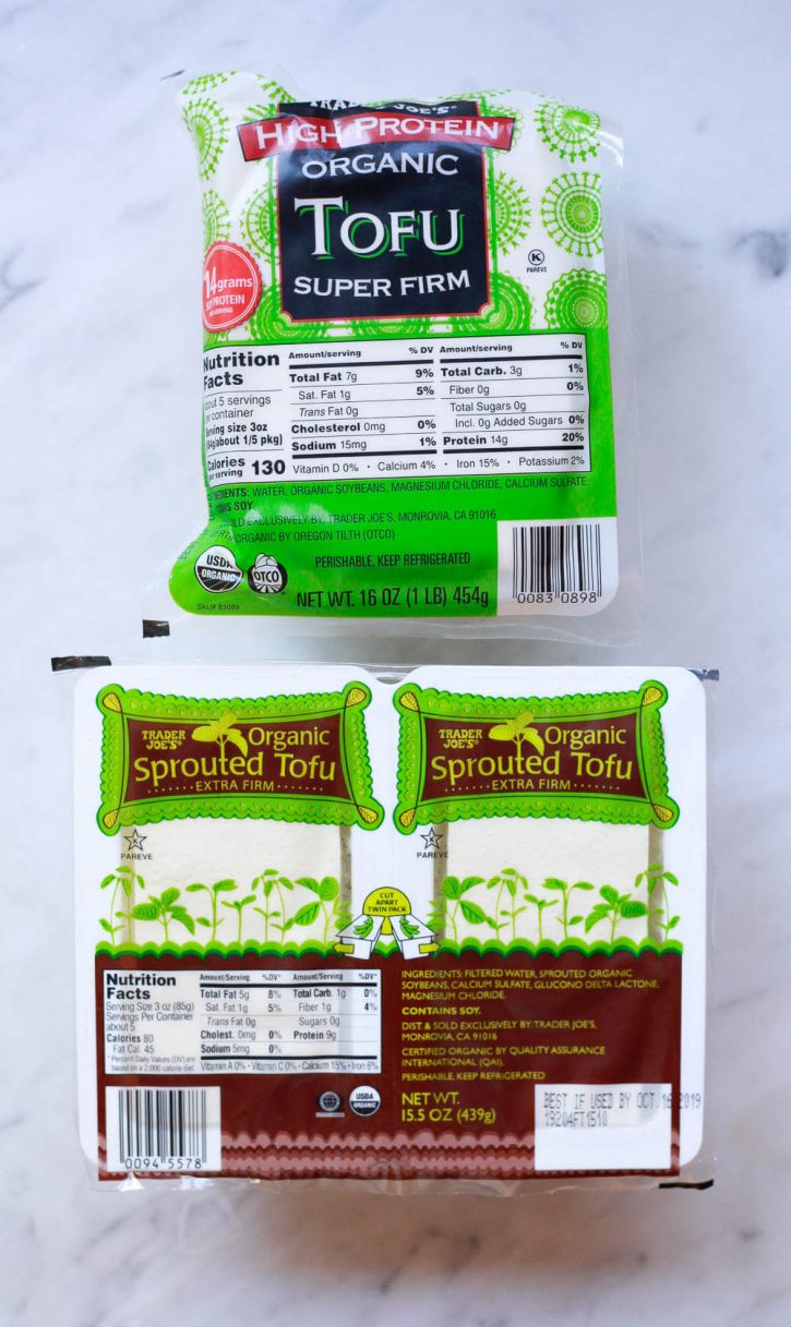 Different types of tofu include these two from Trader Joe's. Organic high protein super firm tofu and sprouted organic tofu.