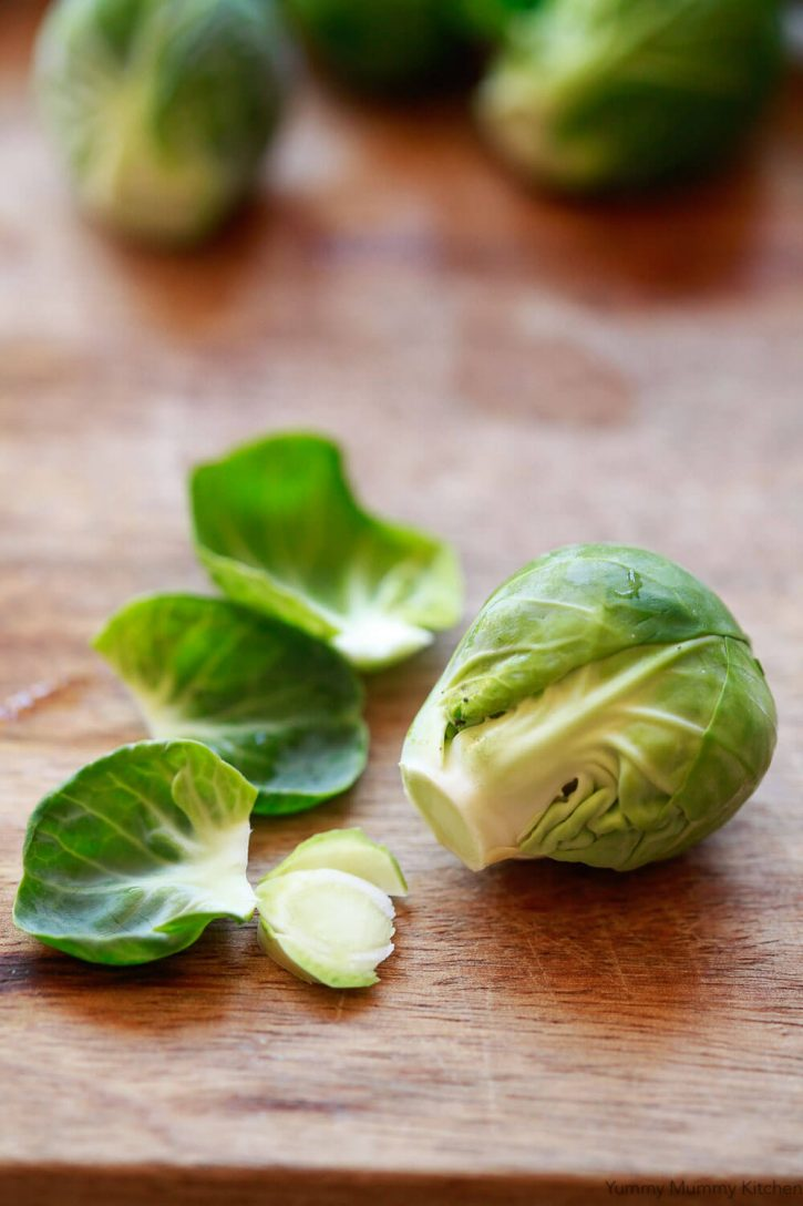 A close-up photo of a Brussels sprout with the end cut off and a few leaves removed.