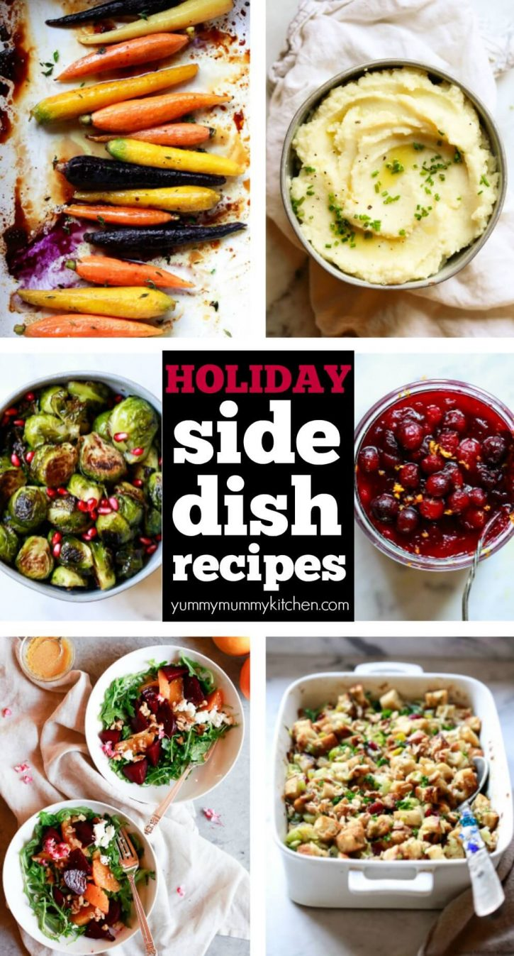 A collage of the best easy, healthy, vegetarian and vegan side dishes. Thanksgiving side dishes include mashed potatoes, roasted rainbow carrots, Brussels sprouts, cranberry sauce, stuffing, and beet salad.