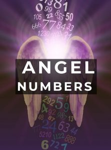 """A graphic of angel wings against a purple background with numbers all around. Text overlay reads """"angel numbers"""""""